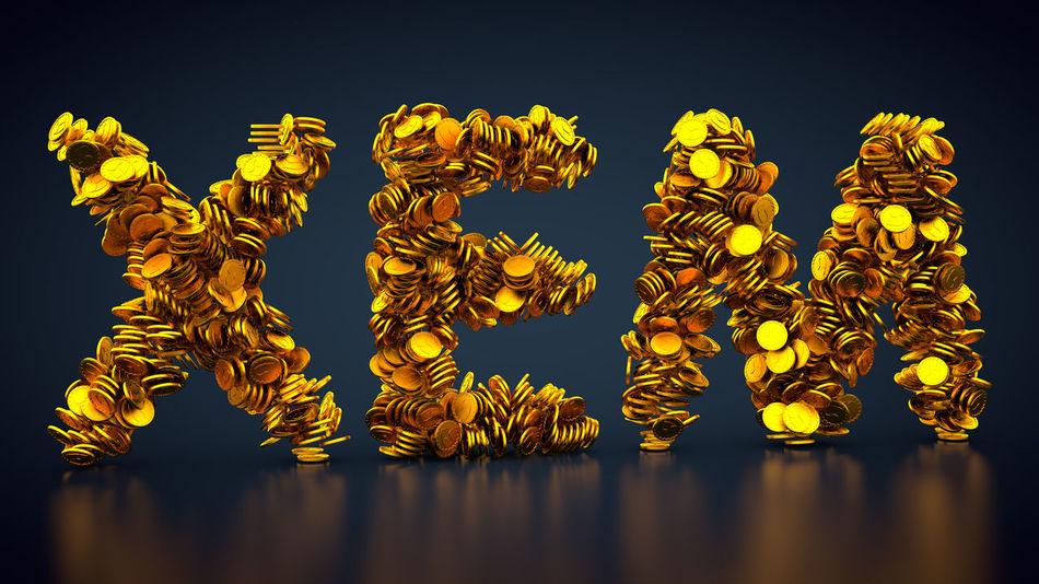 crypto currency NEM symbol Nem 3d Rendering CryptoCoin Currency Gold Golden Golden Coins Money Money Money Cash Coin Coins Crypto Crypto Currency Cryptocurrency Cryptographic Cryptography Currency Symbol Gold Colored Golden Coin Money Rendering Symbol Xem