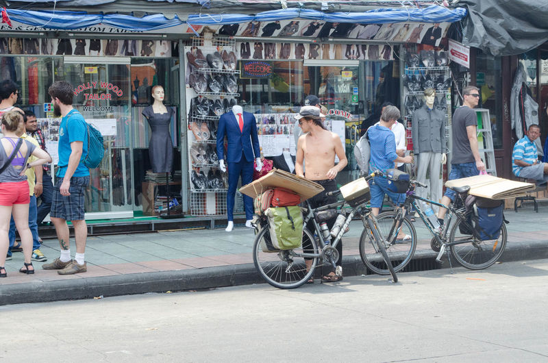 Backpacker Backpack Bike Travel With Bike Homeless Bicycle Adult Outdoors Tourist Travel Photography Chilling Street Day Mode Of Transportation Naked_art