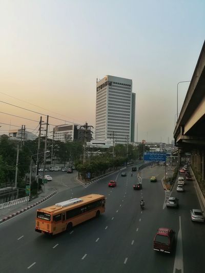 Bangkok Thailand. Light And Shadow Stone Landscape Out Door  Blackground Brown Road Yellow Bus  Overpass Concrete Block Bus Skyscraper City Cityscape Urban Skyline High Angle View Downtown District Building Exterior Sky Outdoors