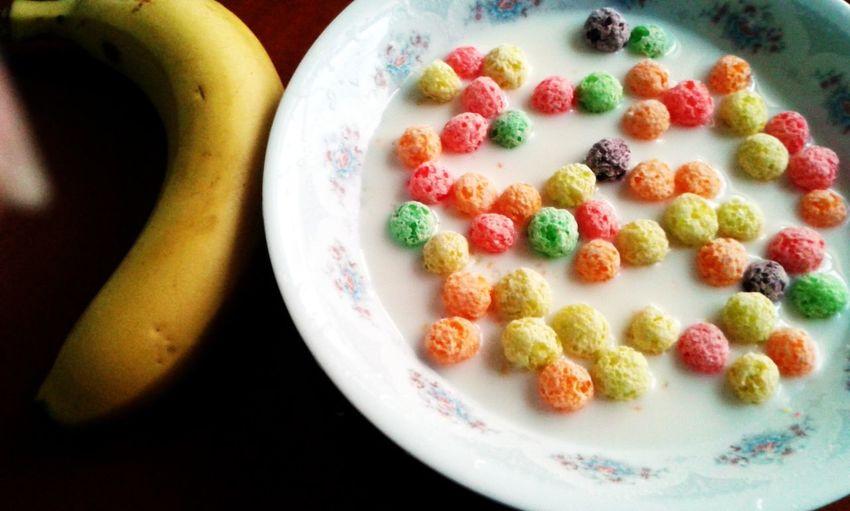 Breakfast Banana Rainbow Balls Soybeanmilk
