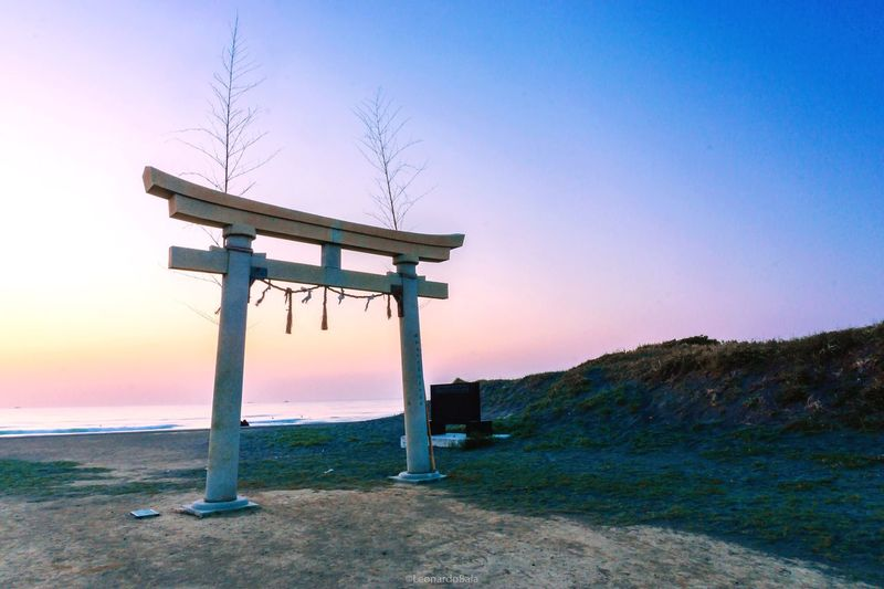 Sunset Tranquil Scene Scenics Clear Sky Tranquility Beauty In Nature Nature Sea Beach Idyllic Horizon Over Water Outdoors Shrine Of Japan Torii Gate Beauty In Nature Sky No People Blue Landscape Travel Destinations Day Water
