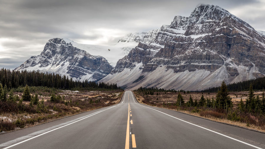Driving on the icefield parkway in the mountains of banff national park canada