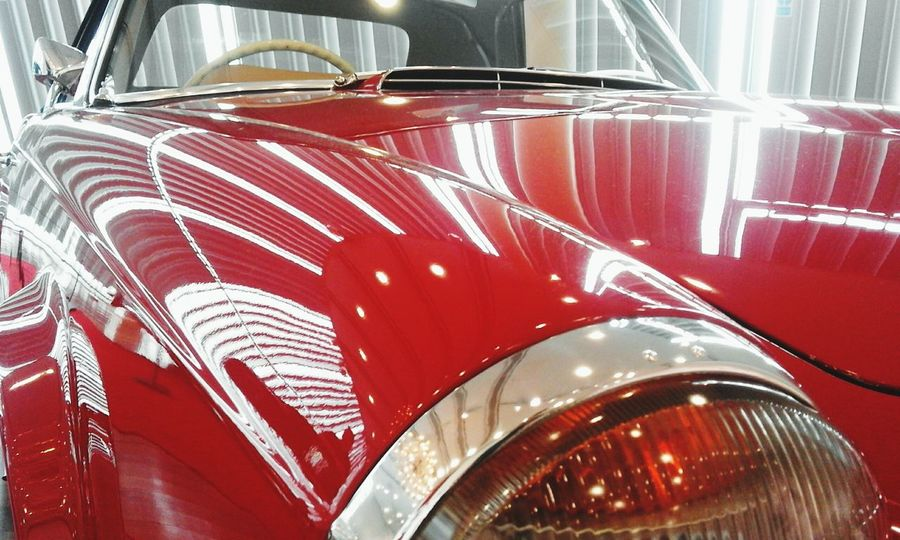 Close-up Mode Of Transport Transportation Red Vibrant Color Vehicle Hood Mercedes Benz World