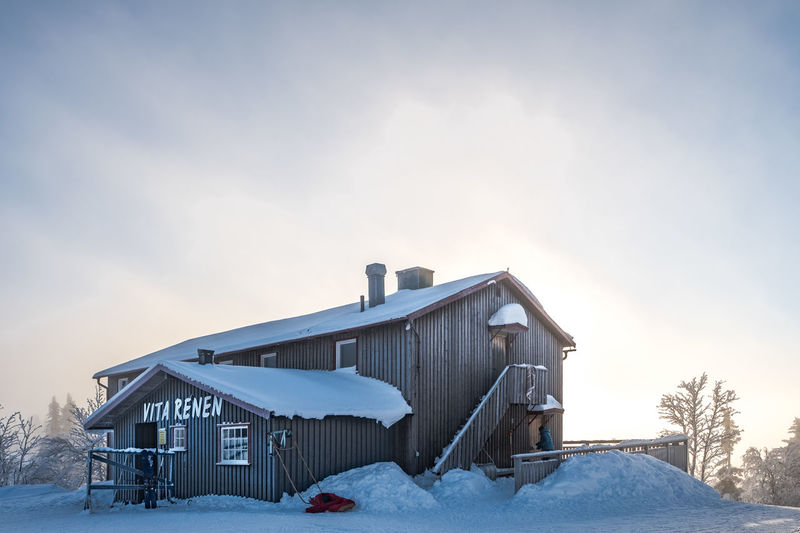Vita Renen restaurant in the mountains Abandoned Architecture Barn Building Exterior Built Structure Clear Sky Cold Temperature Day Frozen House Nature No People Outdoors Sky Snow Sunset Winter
