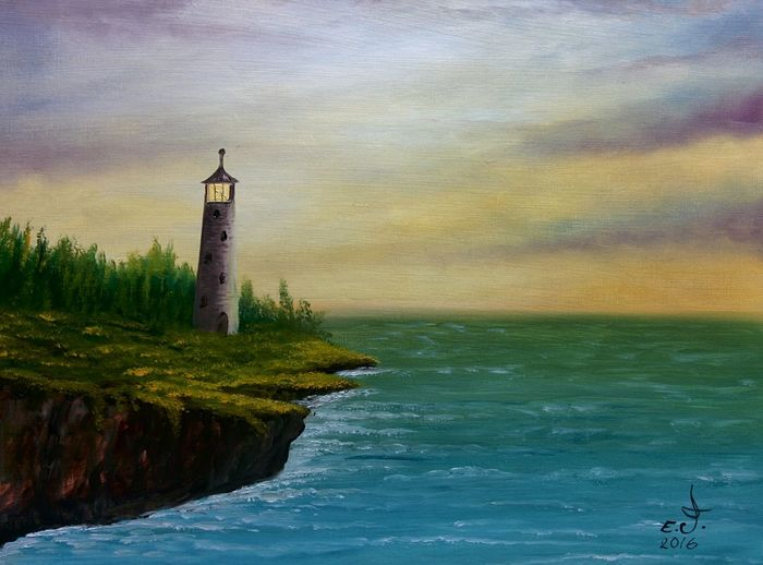 "Light house at dawn.oil on canvas 20""_28"", Lighthouse Water Nature Sky Tranquility Beauty In Nature Tranquil Scene Building Exterior Architecture 3XSPUnity 3XSPhotographyUnity My Art Collection ArtWork Drawing Art, Drawing, Creativity Oil Painting Fine Art Fredom My Best Friends ❤ Scenics My Art Colllection Seascape Friendship. ♡   Love ♥ Koi."