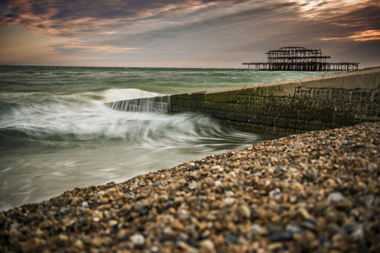 Nikon Pier Wave Architecture Beach Beauty In Nature Built Structure Day Horizon Over Water Long Exposure Nature No People Outdoors Pebble Beach Rusty Scenics Sea Sky Sunset Water Wave West Pier Brighton