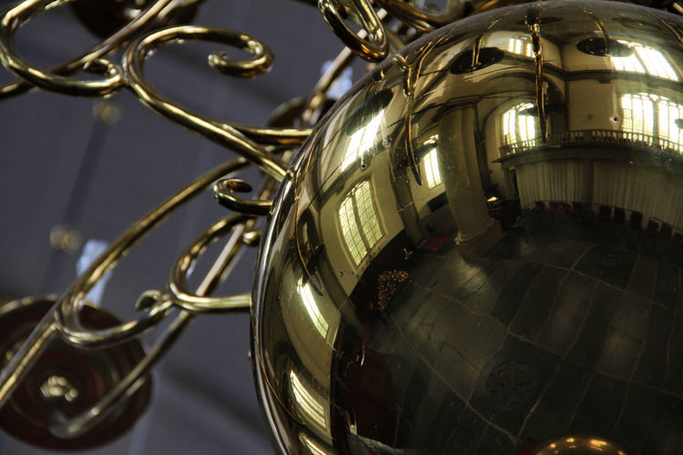 Gold Canderlier Reflection Art Culture And Entertainment Canderlier Close-up Europe Style Gold Colored Metal