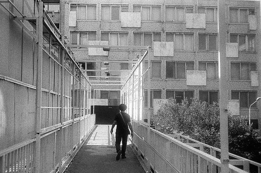 Urban Geometry Architectural Details Urban Architecture Urban Exploration Lines And Shapes Leading Lines Capture The Moment Black And White Silhouette Silhouettes One Person Urban Bridges 35mm Film Black & White 🛩
