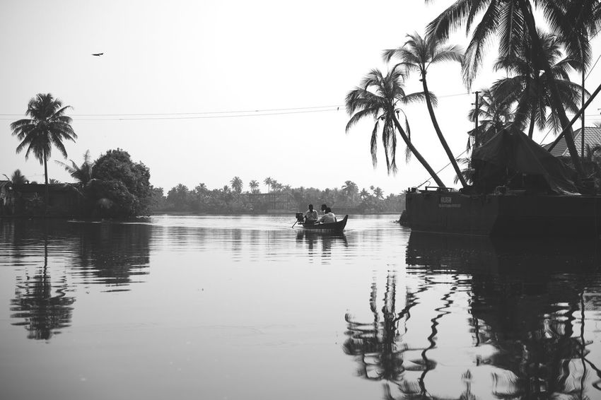 Alleppey Backwaters BackwatersView Black And White Street Photography Canoe Canoeing India Indian Street Photography Alappuzha Alleppey Backwaters Backwaters Of Kerala Backwatersofkerala Black And White Black And White Photography Canoe And Water Canoe Paddling Kerala Kerala India Nature Palm Tree Reflection Street Photography India Street Scenes Of India Tranquility Water