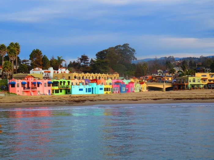 Water Built Structure Architecture Building Exterior Sky Day House Outdoors Waterfront Multi Colored No People Tree Nature Sea Mountain Beauty In Nature Capitola Capitola River Walk, Quaint Vintage. River Front. Vacation Destination EyeEmNewHere California