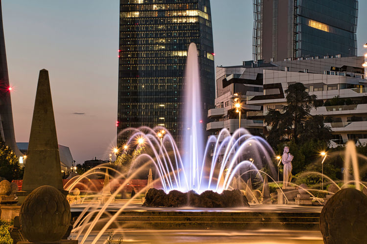 Colorful, stunning fountain of the four seasons at julius caesar square during the night