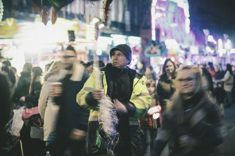 Christmas light switch on in sheffield City Street City Life Adult Motion Illuminated Crowd City Sheffield Sheffield Hallam University Fair Balloons Real People People Outdoors Night Confused Confusion Disconnected Cultures First Eyeem Photo