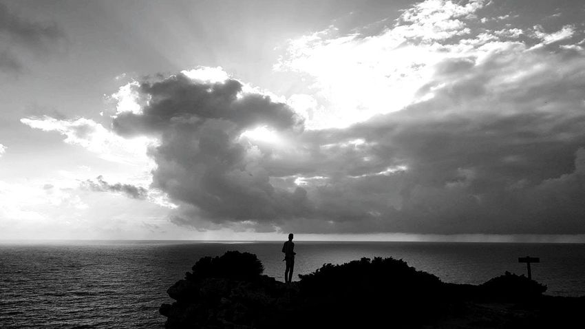 Cloud - Sky Horizon Over Water Sea One Person Sky One Man Only Silhouette Dramatic Sky Water Outdoors Tranquil Scene Landscape Portugal Blackandwhite Black & White Black And White Friday