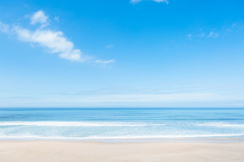 Sea Water Beach Land Sky Scenics - Nature Cloud - Sky Beauty In Nature Horizon Horizon Over Water Tranquility Sand Blue Tranquil Scene Nature Wave Motion No People Day Outdoors