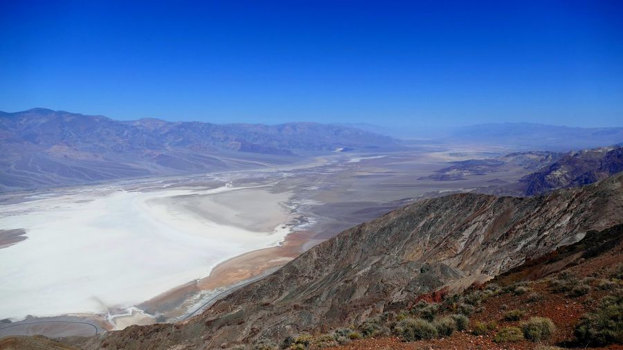 High angle view of badwater at death valley national park against sky