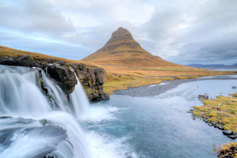 Beauty In Nature Cloud Cloud - Sky Cloudy Day Flowing Flowing Water Iceland Iceland_collection Kirkjufell Motion Mountain Nature Non-urban Scene Rock - Object Rock Formation Scenics Sky Snæfellsnes Tranquil Scene Tranquility Travel Travel Destinations Water Water Falls