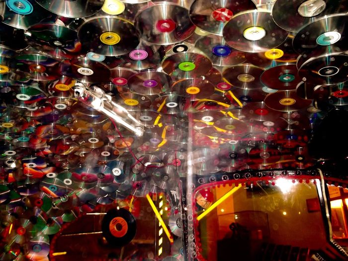 Countless music CDs decorated on car ceiling/interior car top Car CDs Music Cds Colors Colorful Decoration Car Ceiling 43 Golden Moments Showcase July Colour Of Life Interior Style Eyeemphoto