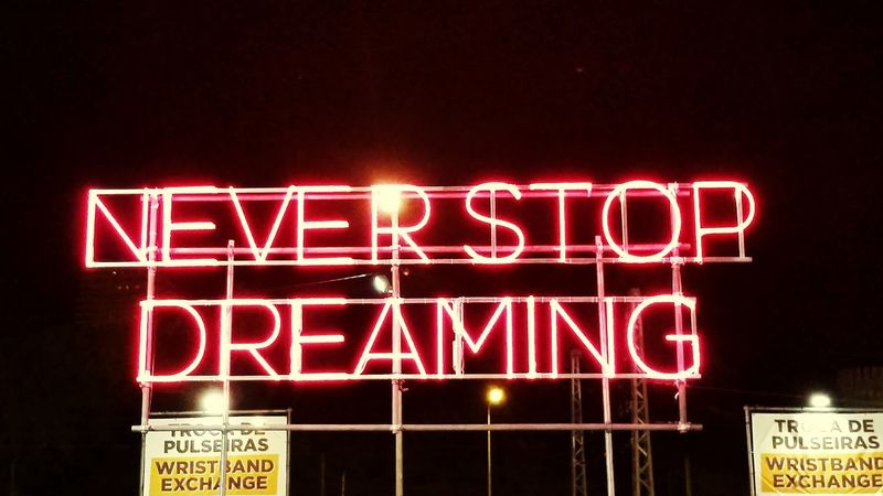 Never Stop Dreaming Neverstopdreaming Nosalive17 NOSALIVE Lisbon Sky Red Letters Taking Photos Close-up Text Night Neon No People Cold Temperature Illuminated Outdoors Food Love Yourself