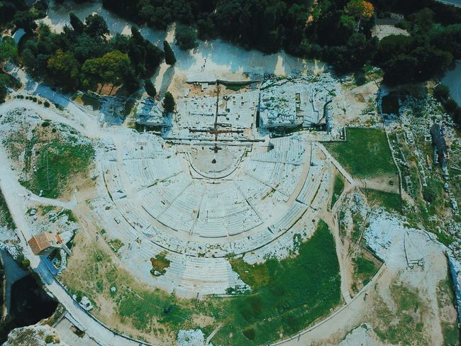 Dronenshot Syrakus theatre Full Frame Backgrounds Pattern Abstract Day Close-up Textured  No People Multi Colored Outdoors Water Architecture Syrakus Theatre Drone  Dji DJI Mavic Pro Dronephotography Droneshot Sizilien Greece High Angle View Italy Antik Antik Theater