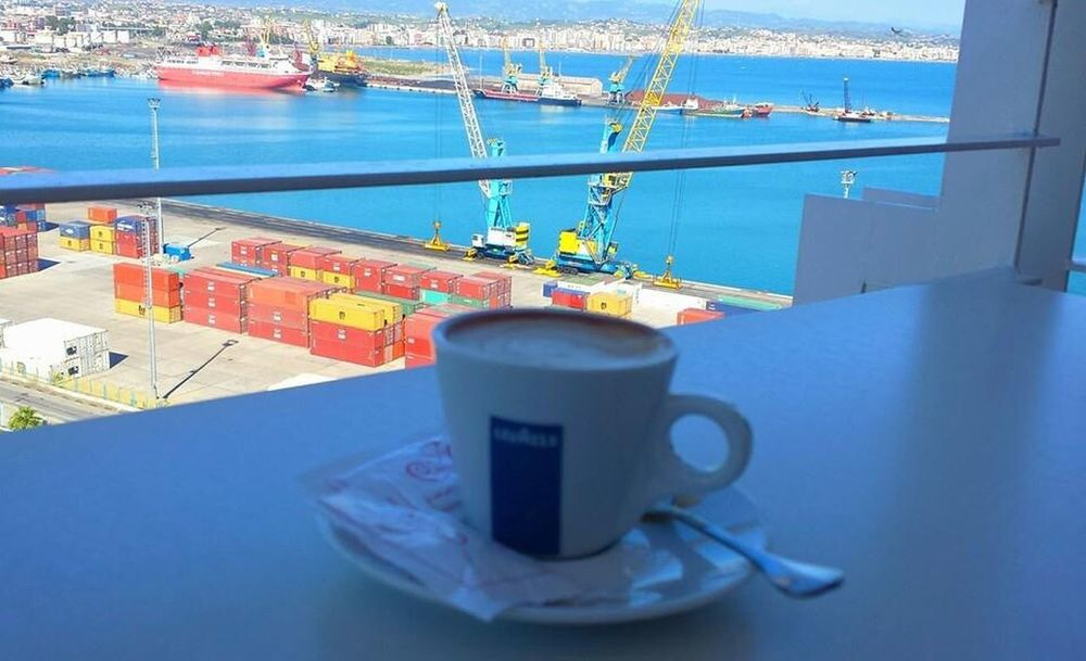 Durres Albania Sea And Sky Port Drink Refreshment Food And Drink Coffee Cup Water Table Coffee - Drink Nautical Vessel No People Day Transportation Sea Saucer Outdoors Close-up Freshness Sky
