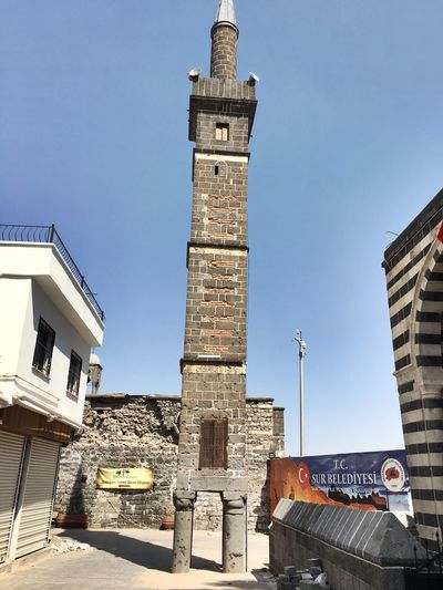 Ayakli minare Türkiye Turkey Minaret Ayakli Minare Diyarbakır Architecture Built Structure Building Exterior Sky Building Clear Sky Nature Day Travel Destinations Tower No People City Communication Travel Tourism Sunlight