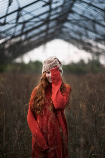 The Portraitist - 2019 EyeEm Awards Clothing One Person Real People Women Leisure Activity Front View Adult Hat Lifestyles Waist Up Day Nature Winter Focus On Foreground Warm Clothing Young Women Plant Land Standing