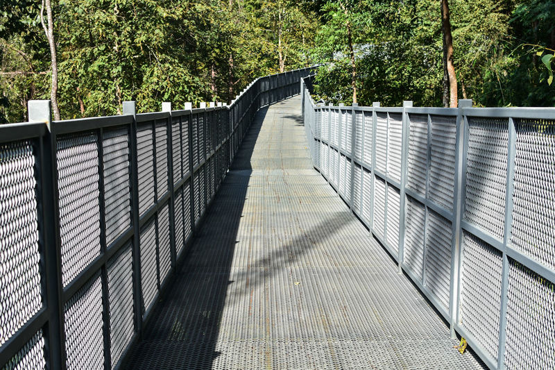 Architecture Balustrade Barrier Bridge Bridge - Man Made Structure Built Structure Connection Day Direction Fence Footbridge Footpath Forest Nature No People Outdoors Plant Railing Sunlight The Way Forward Tree
