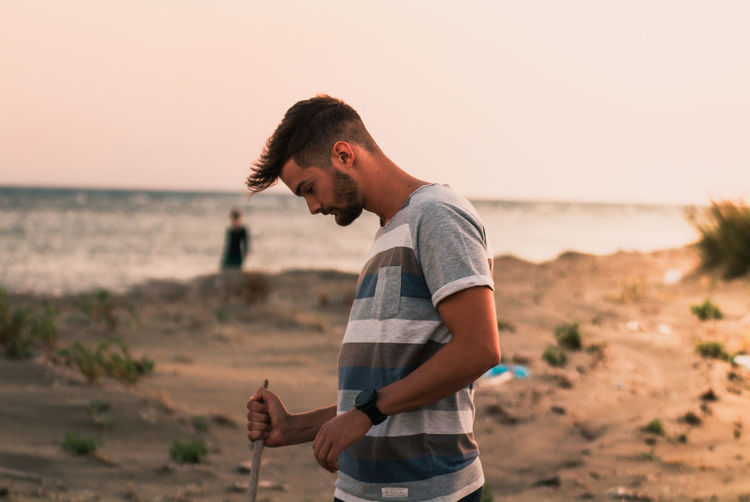 man on a sandy
