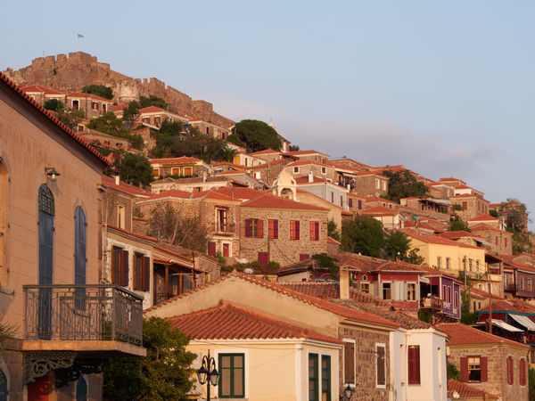 Old streets of Molyvos, Lesbos, Greece Architecture Building Exterior Built Structure Byzantine Castle Clear Sky Day Evening Greece Historical Building House Island Lesbos Medieval No People Residential Building Sky Stone Street Sunset Town Travel Destinations