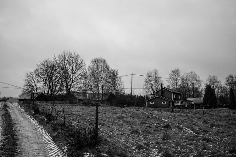 Sky Black And White Tree Birds House Field Black & White Farm Sweden Countryside Sverige Köping  Rural Scene Building Dark