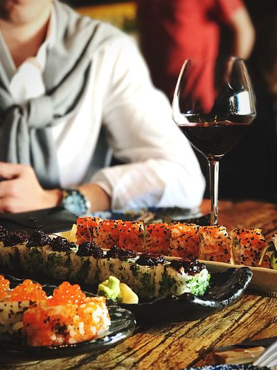 Close-up of sushi on table in restaurant