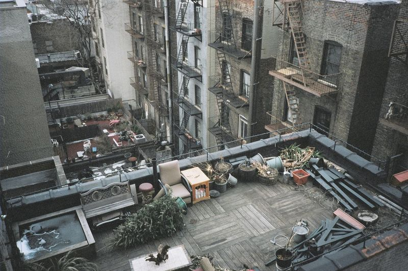 35mm Aerial View After Christmas After Holiday Architecture Building Exterior Buildings Built Structure Christmas Tree City Cityscape Dead Tree High Angle View No People Outdoors