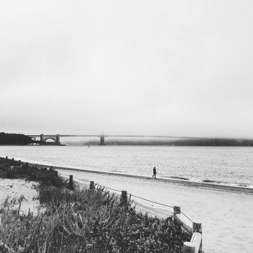 Beach Sea Nature Outdoors California San Francisco One Person Blackandwhite Photography Bridge Photography GoldenGateBridge