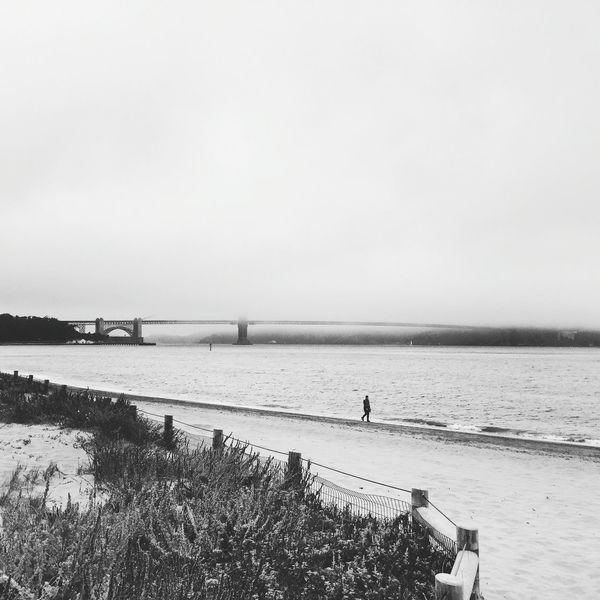 Beach Sea Nature Outdoors California San Francisco One Person Blackandwhite Photography Bridge Photography GoldenGateBridge