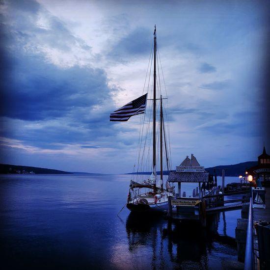 seneca Lake Water Tall Ship Nautical Vessel Sea Sailing Ship Harbor Blue Sky Horizon Over Water Cloud - Sky
