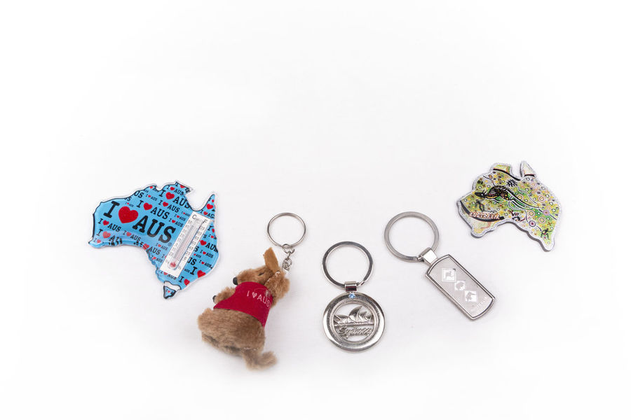Various souvenir fridge magnet and key chain from Australia on a white background Australia Collection Destination Enjoy Fridge Magnets Gift Kangaroo Key Chain Map Souvenir Sydney Opera House Sydney, Australia Tourism Travel Trip