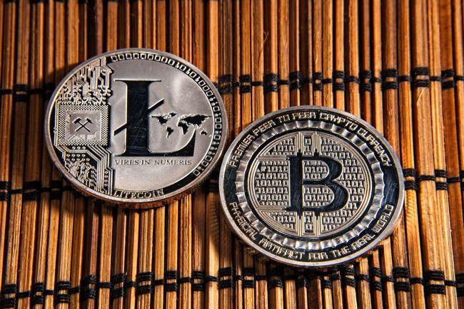 Shining metal BTC bitcoin and litecoin coins on bamboo background. BTC Deep Web Economy Gold LTC Virtual Bamboo - Material Bitcoin Blockchain Coins Crypto Cryptocurrency Cryptography Dark Web Digital Finance Litecoin Money Trade