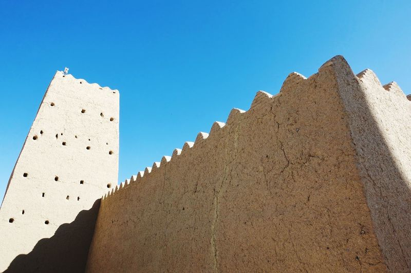 Wall and tower in an ancient persian village deep in the desert