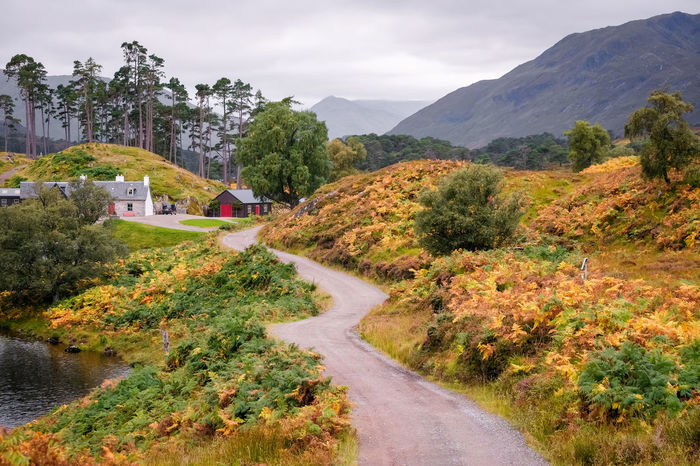 Glen Affric Scotland Architecture Autumn Beauty In Nature Built Structure Change Cloud - Sky Day Direction Environment Growth Landscape Mountain Nature No People Outdoors Plant Road Scenics - Nature Sky Tranquility Transportation Tree
