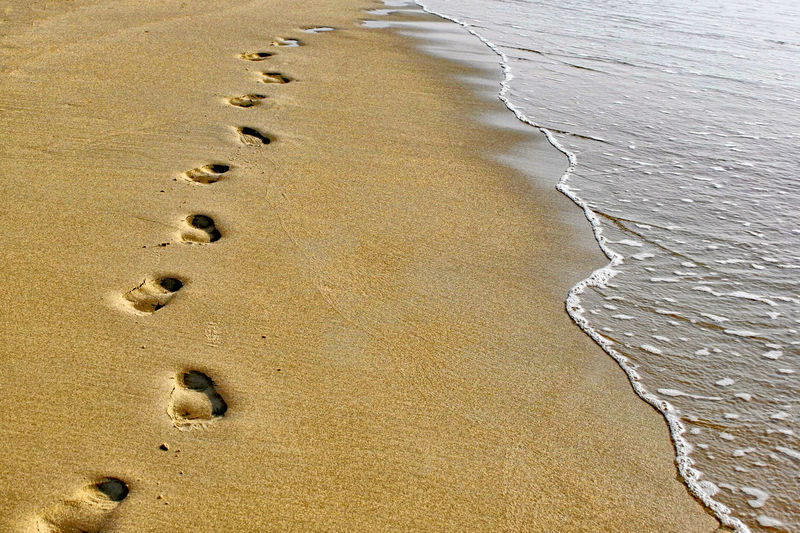 Beach Countless Steps Feet On The Ground Feets FootPrint Sand & Sea Seaside Step By Step Waterfront