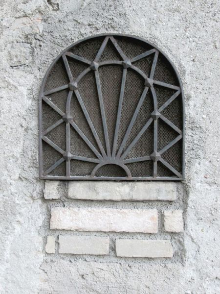 Old Window Architectural Detail Grill Window Concrete Wall ArchiTexture Textures And Surfaces Gray Grayscale Metal Window Grill Brick And Mortar