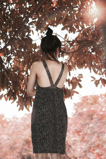 Rear view of woman standing on leaves during autumn