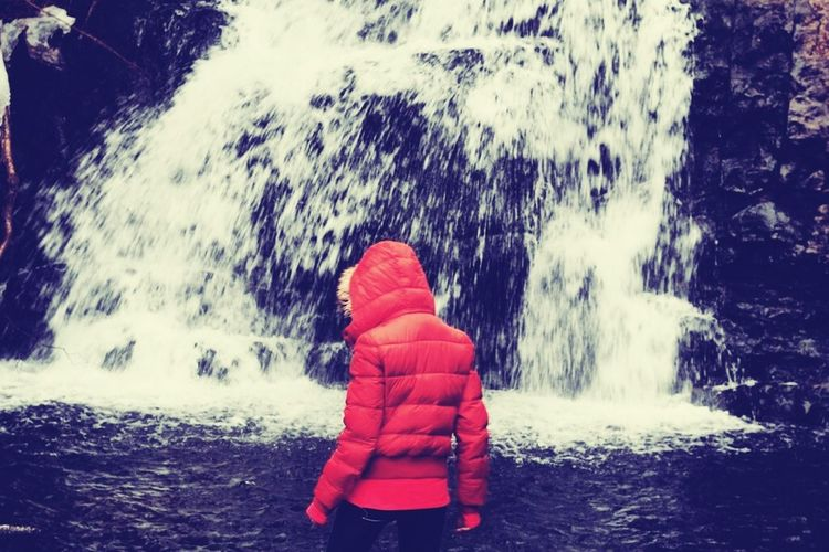 Winter wandering. Rear View Water Motion Cold Temperature Nature Warm Clothing Winter Outdoors Beauty In Nature