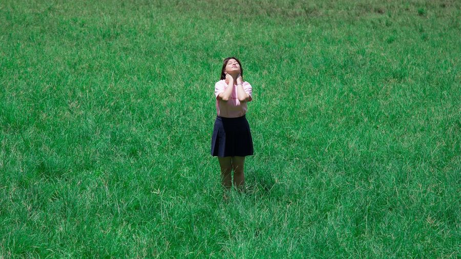 Lost In The Landscape Lostinthewoods Grass Green Color One Person High Angle View People One Woman Only Standing Outdoors Adult Only Women Young Adult Day Adults Only Full Length Nature Young Women One Young Woman Only EyeEmNewHere EyeEmNewHere