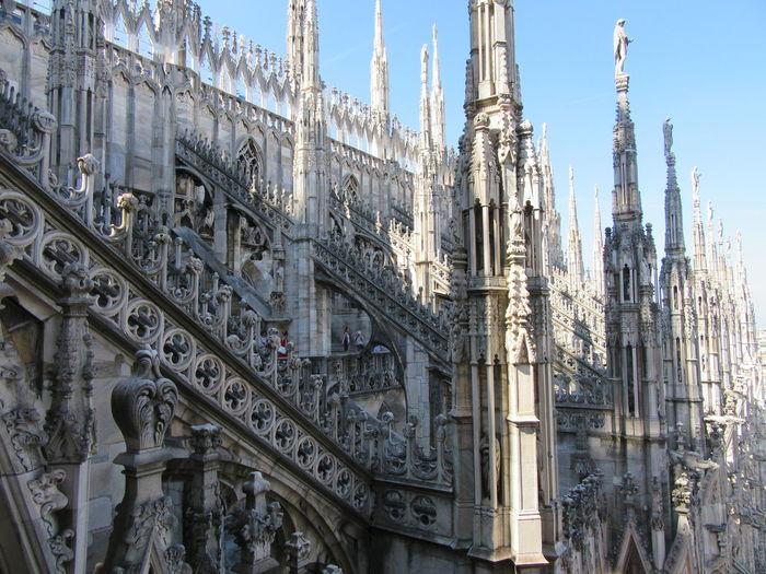 Duomo di milano against clear blue sky