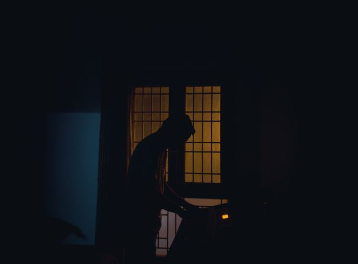 Piano Moments One Person Silhouette Indoors  People Only Men One Man Only Adults Only Adult Human Body Part Day Lonely Place  Loneliness Blues Yellow Black Break The Mold Neon Life