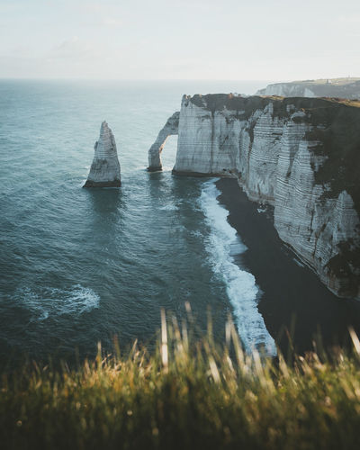 Scenic view of the cliffs of etretat, france