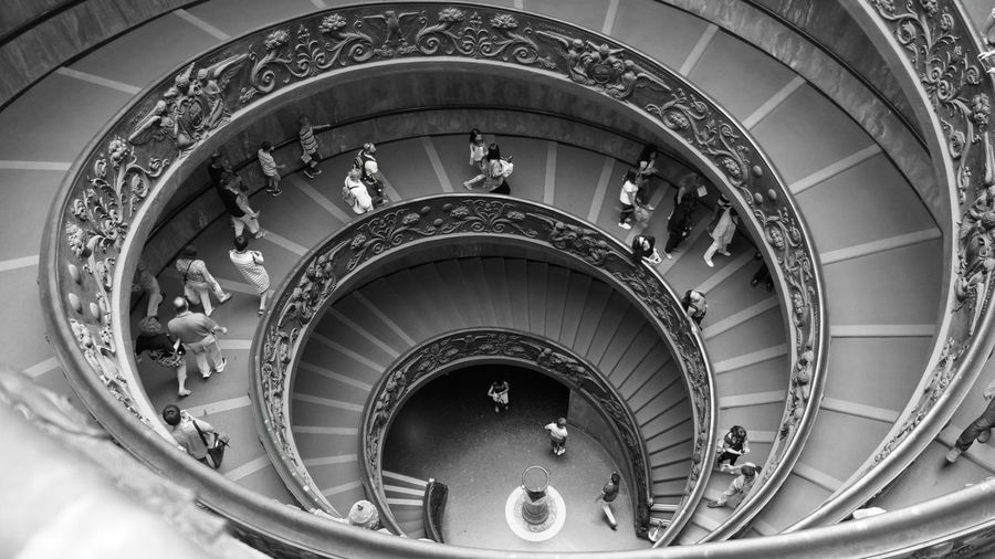 High Angle View Of People At Vatican Museums Staircase