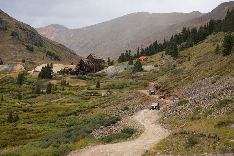 """Sep 2018 - """"Jeepin"""" in Animas Forks, Colorado 4x4 Driving Architecture Beauty In Nature Building Exterior Built Structure Day Environment Ghost Town Landscape Mining Camp Mountain Mountain Range Nature No People Outdoors Plant Road Scenics - Nature Sky Tranquil Scene Transportation Tree"""