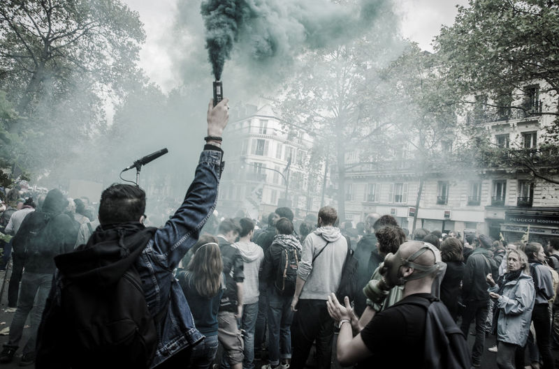 Rioters on street in city